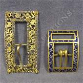 51 GILT METAL LACQUERED AND CUT STEEL BELT BUCKLES