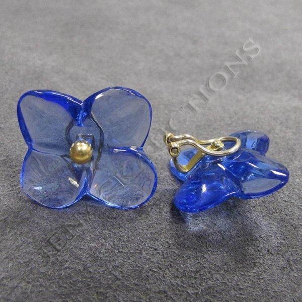 130: BACCARAT 18K YELLOW GOLD BLUE HORTENSIA EARRINGS