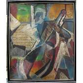 382: AFTER MAX WEBER (AMERICAN 1881-1961), OIL/COLLAGE