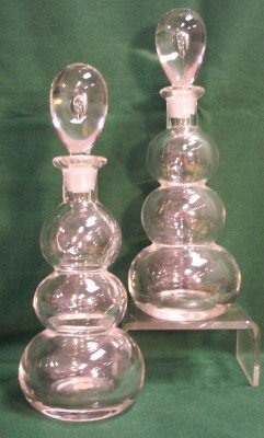 1022: PAIR ART MODERN BLOWN GLASS DECANTERS