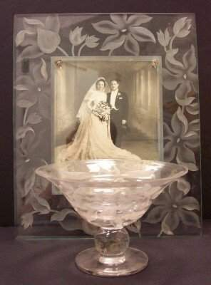 LOT (2) GLASS COMPOTE & PICTURE FRAME