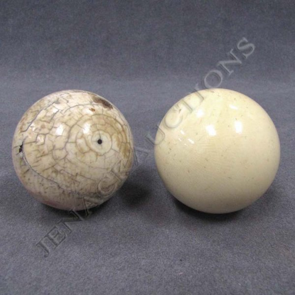 12: LOT (2) VINTAGE IVORY BILLIARD BALLS