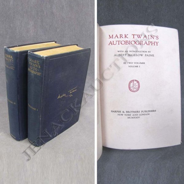 23: MARK TWAIN AUTO-BIOGRAPHY 2-VOLUMES, HARPER BROS