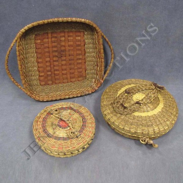 1: LOT (3) VINTAGE EASTERN WOODLANDS INDIAN BASKETS