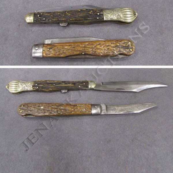 6: LOT (2) VINTAGE BONE/ANTLER HANDLE FOLDING KNIVES