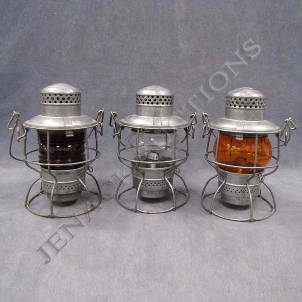 11: LOT (3) ASSORTED PC LOGO LANTERNS WITH RED FRESNEL