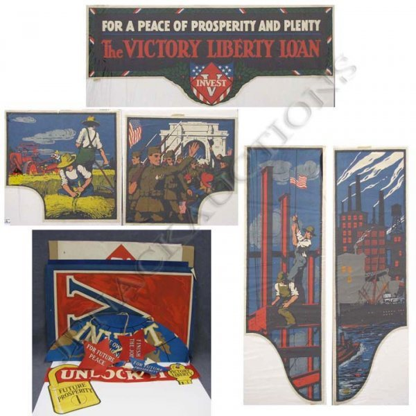 12: LOT ASSORTED WWI POSTERS AND WINDOW DISPLAY