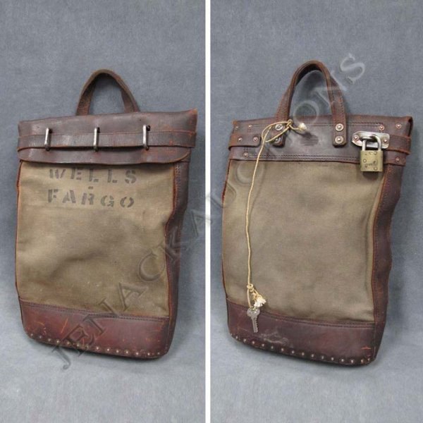 19: VINTAGE WELLS FARGO LEATHER/CANVAS PARCEL BAG