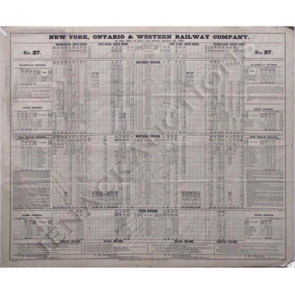 20: NY O & W RY CO STATION TIME TABLE #27