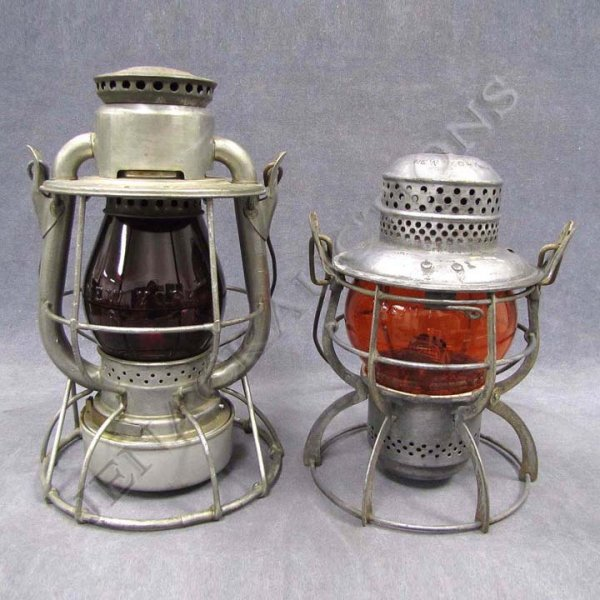 24: LOT (2) LANTERNS INCLUDING (E IN DIAMOND) ERIE RR