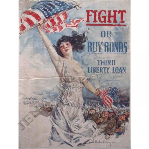 "40: WWI LITHOGRAPHIC POSTER, ""FIGHT OR BUY BONDS"""