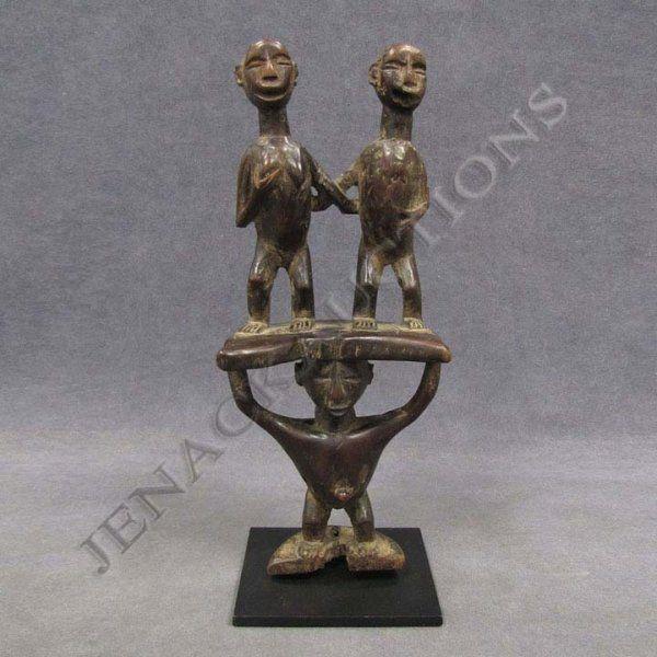 21: IBO MULTI-FIGURE WOOD HEADDRESS ORNAMENT, NIGERIA