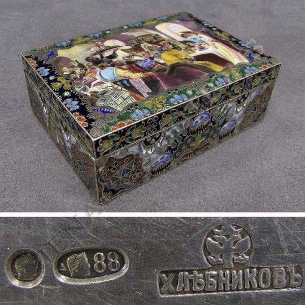 175: KHLEBNIKOV RUSSIAN SILVER & ENAMELED COVERED BOX