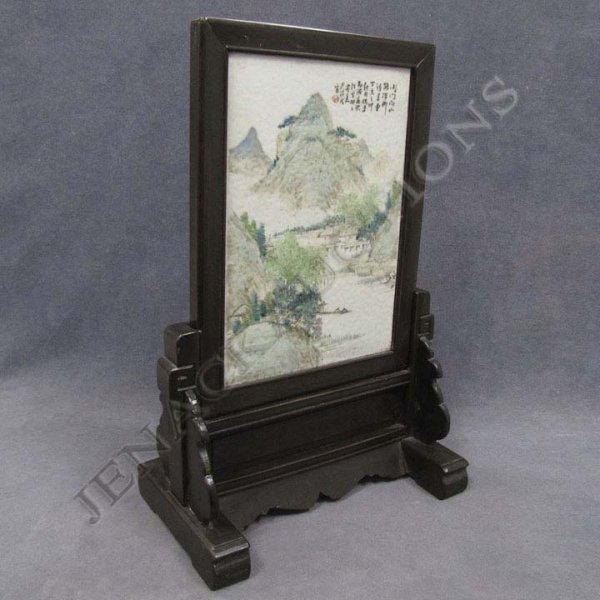 345: CHINESE FAMILLE ROSE PORCELAIN TABLE SCREEN