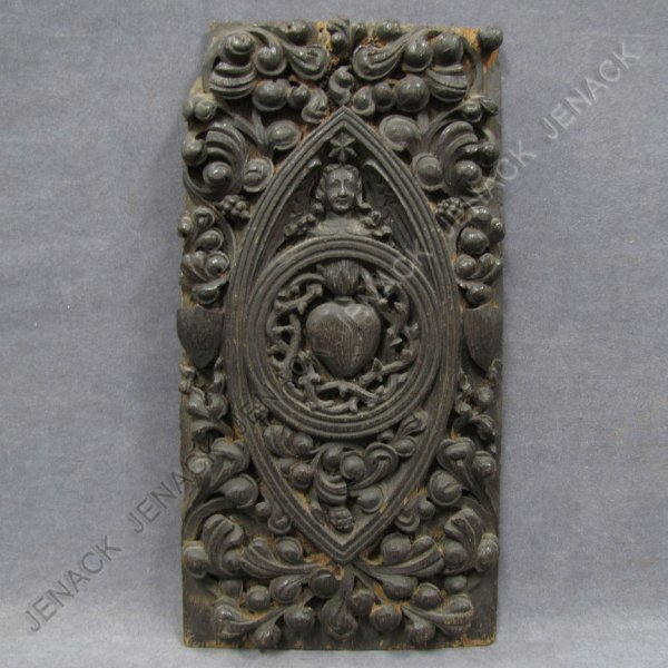 8: CONTINENTAL CARVED OAK PANEL, 18TH CENTURY