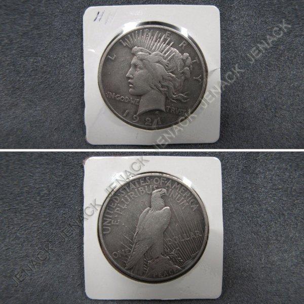 12: 1921 PEACE SILVER DOLLAR (VF-20+)