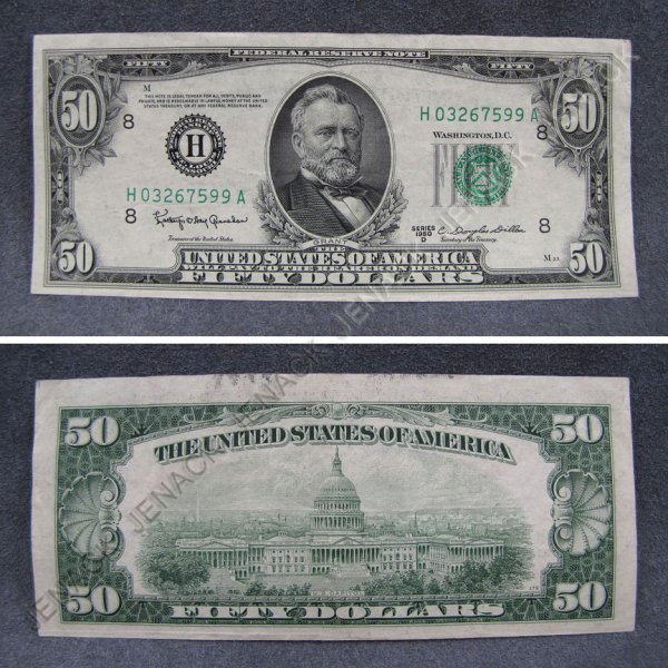 13: SERIES 1950-D FEDERAL RESERVE $50.00 NOTE