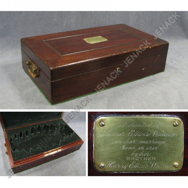 17: VINTAGE MAHOGANY FITTED SILVER BOX