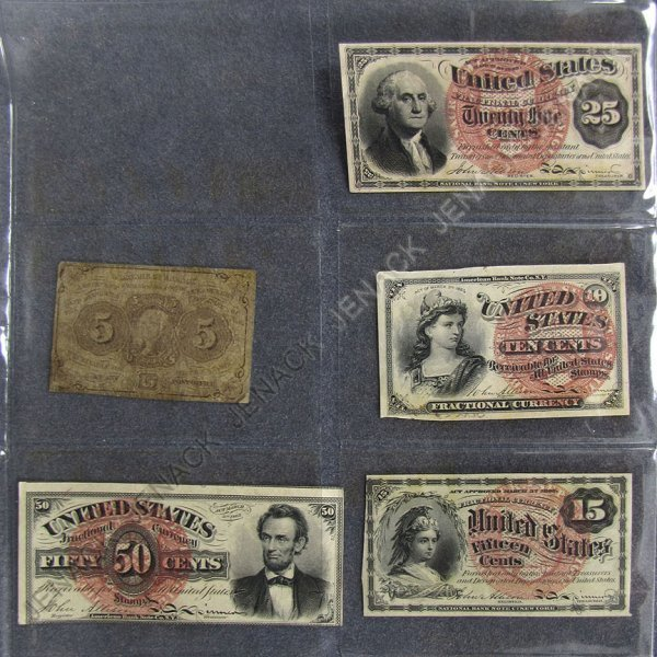 20: LOT (5) ASSORTED US FRACTIONAL CURRENCY