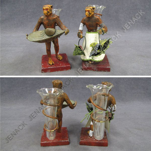 6: PAIR POLYCHROME METAL MONKEY FIGURAL BUD VASES
