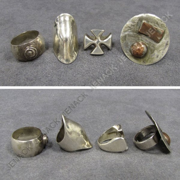 9: LOT (4) STERLING RINGS. 1.66 OZT; RING SIZE 4 TO 8