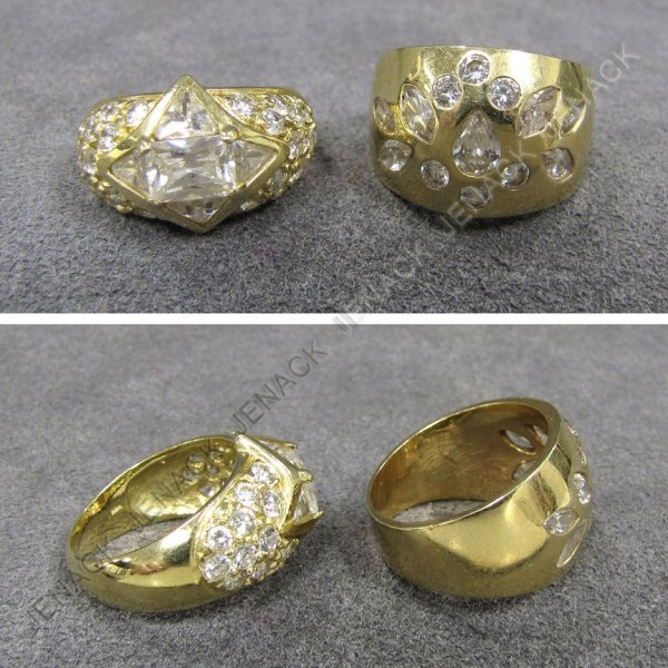 16: LOT (2) 14K YELLOW GOLD SYNTHETIC DIAMOND RINGS