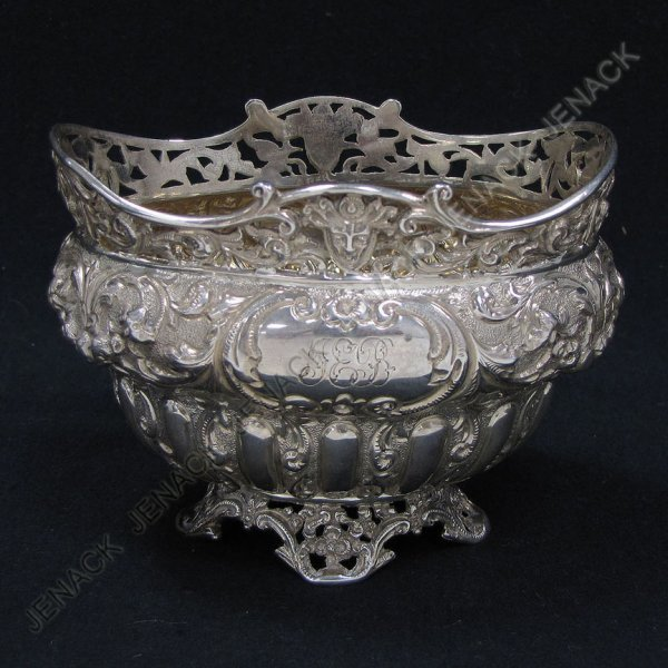 22: LONDON STERLING RETICULATED FOOTED DISH, MONOGRAM