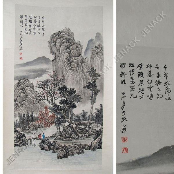 86: CHINESE SCHOOL WATERCOLOR ON PAPER SCROLL PAINTING