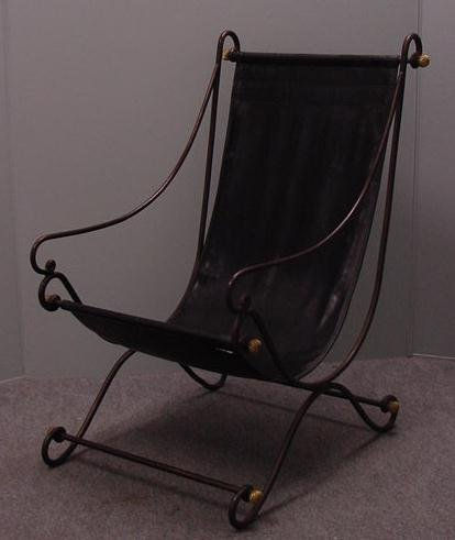 19: WROUGHT IRON AND LEATHER SLING CHAIR