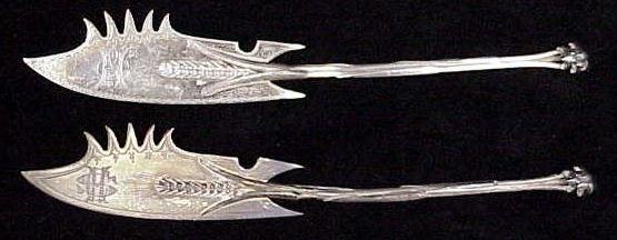142: PAIR GORHAM STERLING CHEESE KNIVES