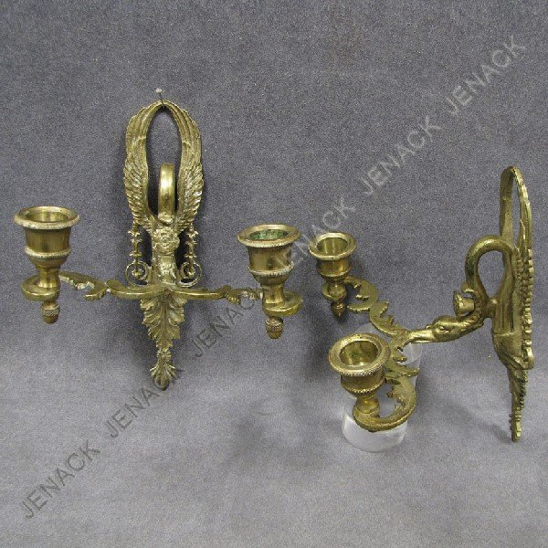 1: PAIR FRENCH STYLE BRASS 2-ARM WALL SCONCES