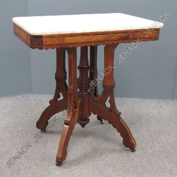 3: VICTORIAN CARVED WALNUT MARBLE TOP TABLE