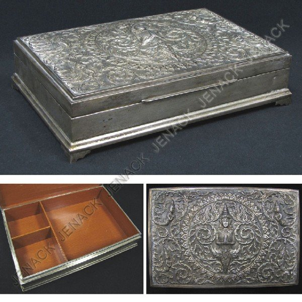 6: SIAMESE STERLING REPOUSSE WOOD LINED DRESSER BOX