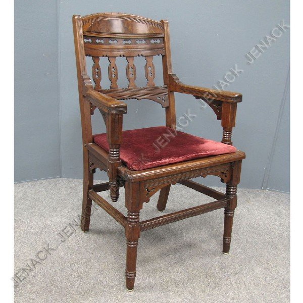 7: VICTORIAN CARVED AND BURL INLAID ARMCHAIR