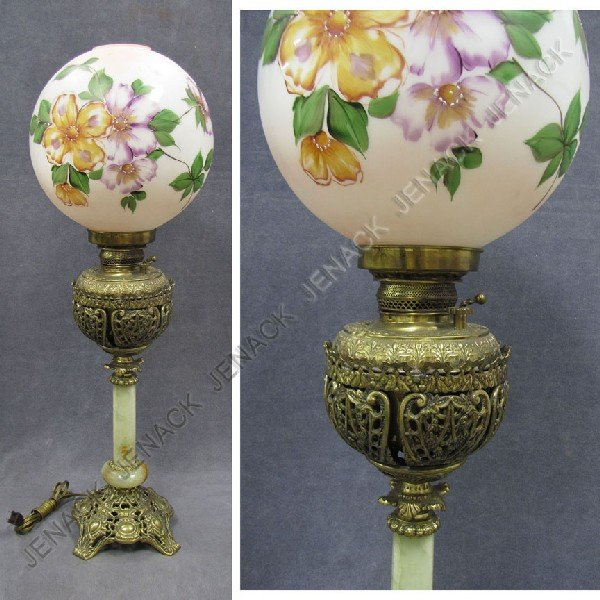 11: VINTAGE GILT BRASS AND ONYX BANQUET LAMP