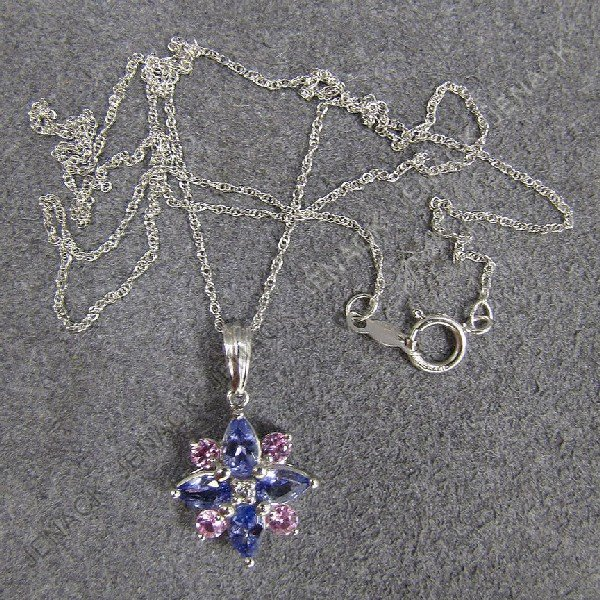 16: 14K WHITE GOLD PINK AND BLUE SAPPHIRE STAR PENDANT