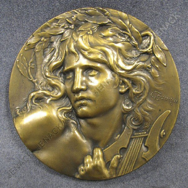 21: C. LOUDRAY, BRONZE MEDALLION, THE LUTE PLAYER