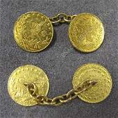 185: PAIR GOLD (TESTS 22K) EGYPTIAN COIN CUFF LINKS