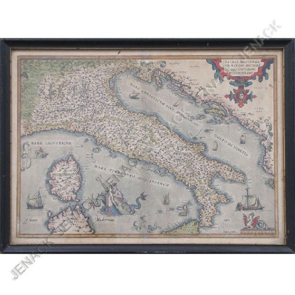356: ENGRAVED MAP WITH HAND COLORING, ITALY, SIGNED