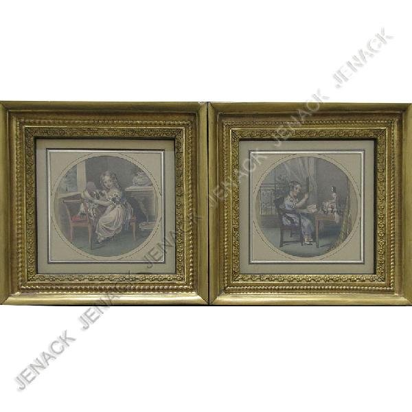 4: PAIR VICTORIAN HAND COLORED LITHOGRAPHS, CHILDREN
