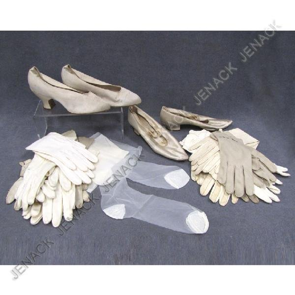10: LOT VINTAGE SILK SHOES, KID LEATHER/COTTON GLOVES