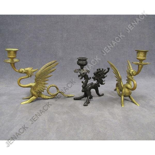 10: LOT (3) GRIFFIN-FORM CANDLESTICKS