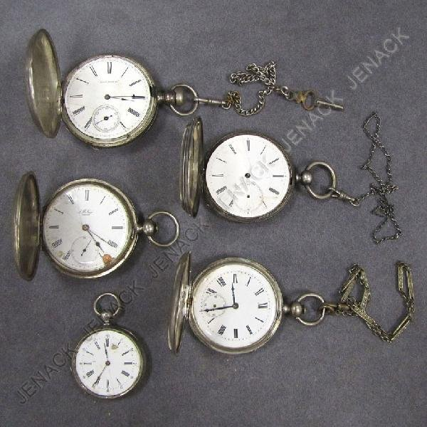 13: LOT (5) SILVER HUNTER CASE POCKET WATCHES