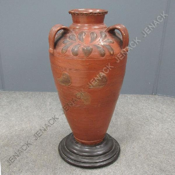 19: VINTAGE CARVED AND PAINTED TERRA COTTA URN