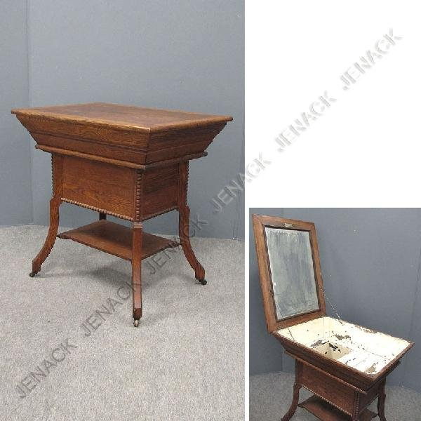 324: VICTORIAN OAK ROSS TABLE-WASHSTAND, SIGNED