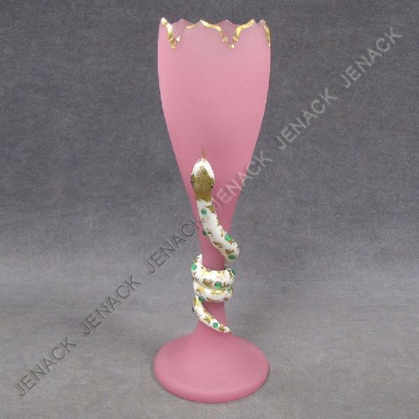 5: VINTAGE JEWEL MOUNTED CARVED SATIN GLASS VASE