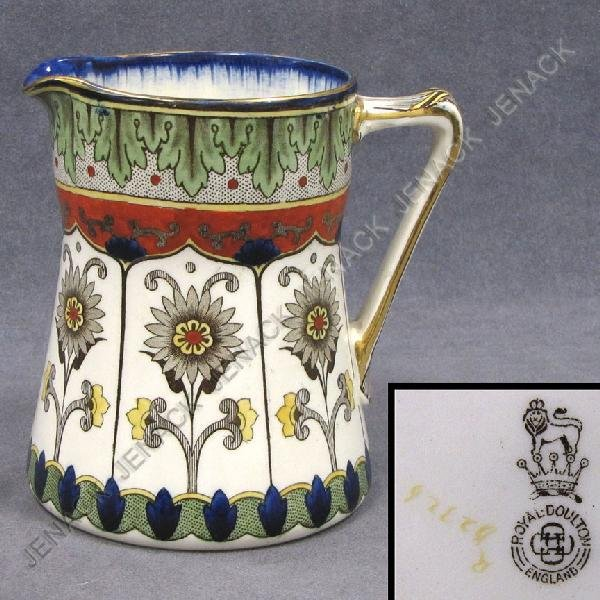 6: ROYAL DOULTON DECORATED POTTERY PITCHER, SIGNED