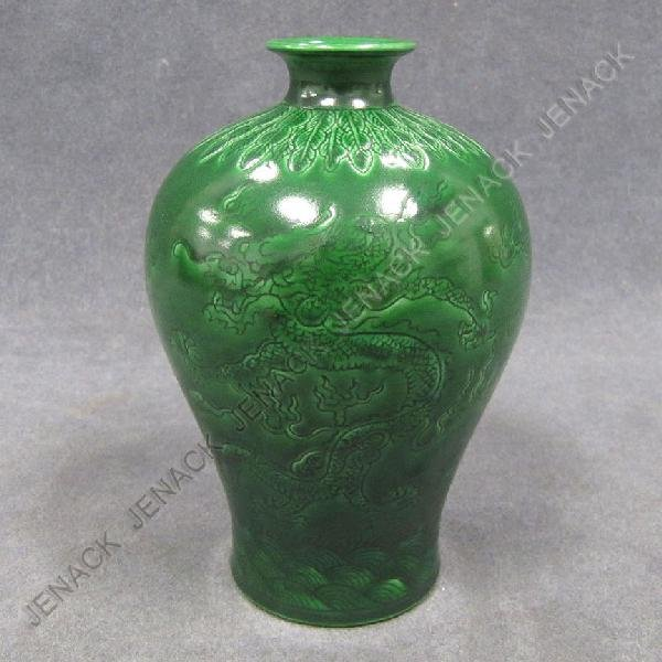 14: CHINESE CARVED PORCELAIN MEI PING VASE