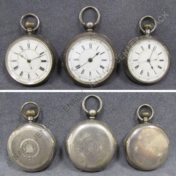 16: LOT (3) ASSORTED OPEN FACE REPEATER POCKET WATCHES