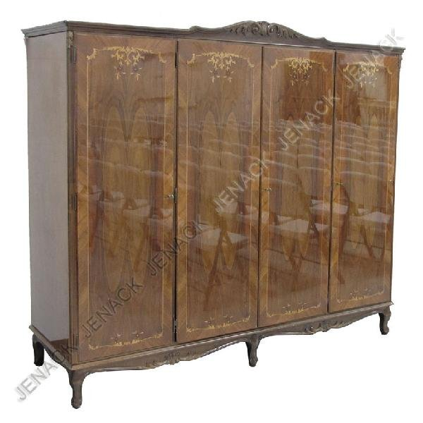 23: FRENCH STYLE FRUITWOOD 4-DOOR ARMOIRE